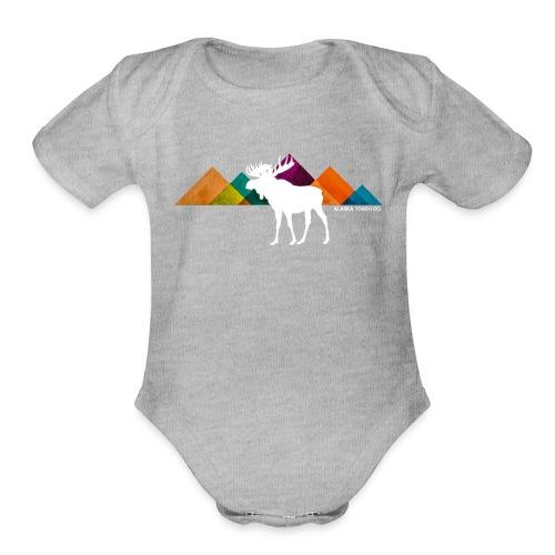 Moose and Mountains Design - Organic Short Sleeve Baby Bodysuit