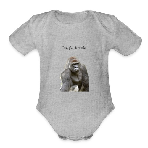 Pray for Harambe - Organic Short Sleeve Baby Bodysuit