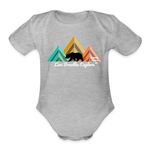 Live Breathe Explore Bear - Organic Short Sleeve Baby Bodysuit
