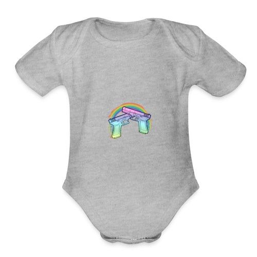 Rainbow guns - Organic Short Sleeve Baby Bodysuit