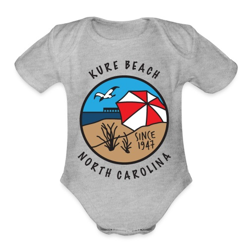 Kure Beach Day-Black Lettering-Front Only - Organic Short Sleeve Baby Bodysuit