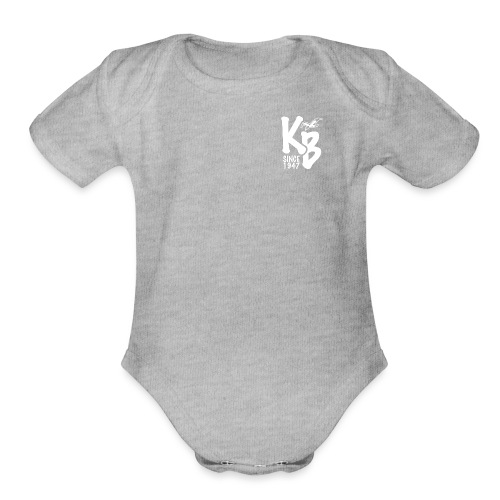 Kure Beach Sunrise-White Lettering-Front and Back - Organic Short Sleeve Baby Bodysuit