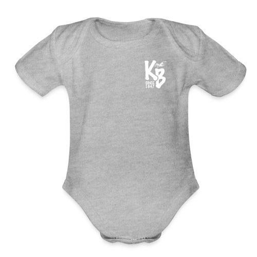 Kure Beach Day-White Lettering-Front and Back - Organic Short Sleeve Baby Bodysuit