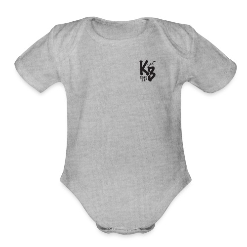 Kure Beach Sunrise-Black Lettering-Front and Back - Organic Short Sleeve Baby Bodysuit