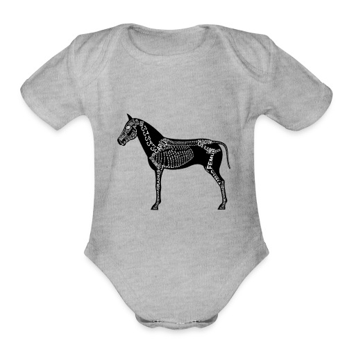 Skeleton Horse - Organic Short Sleeve Baby Bodysuit