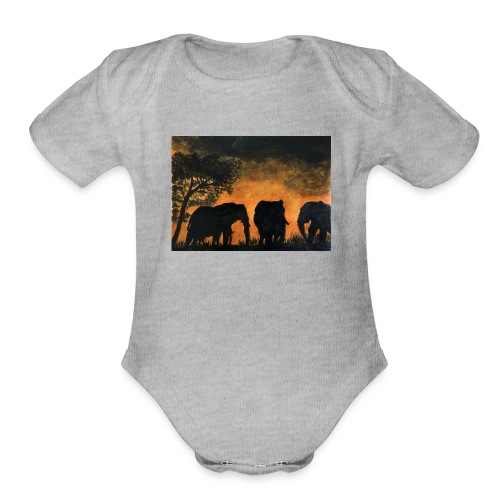 Elephants at sunset - Organic Short Sleeve Baby Bodysuit