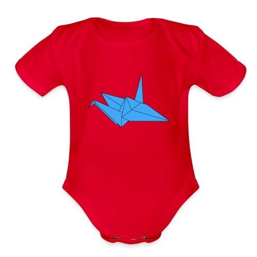 Origami Paper Crane Design - Blue - Organic Short Sleeve Baby Bodysuit
