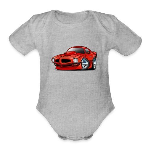 Classic Seventies American Muscle Car Cartoon - Organic Short Sleeve Baby Bodysuit