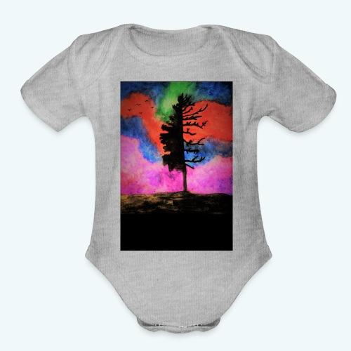 colorful_tree - Organic Short Sleeve Baby Bodysuit