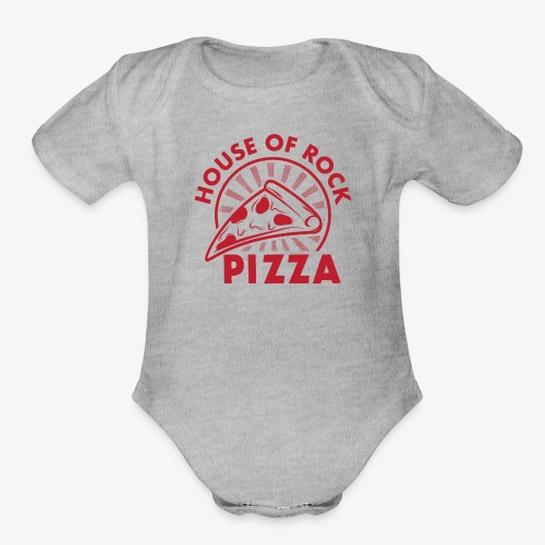 HOR Pizza Red - Organic Short Sleeve Baby Bodysuit