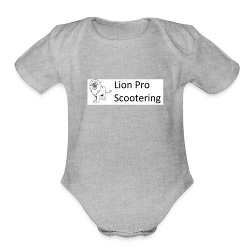 Lion Scootering Logo - Organic Short Sleeve Baby Bodysuit