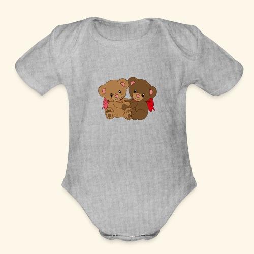 Bears Hugging - Organic Short Sleeve Baby Bodysuit