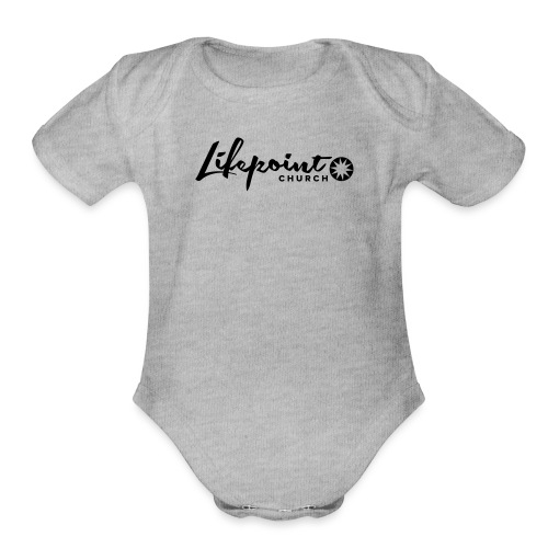 Logo Horizontal Black - Organic Short Sleeve Baby Bodysuit