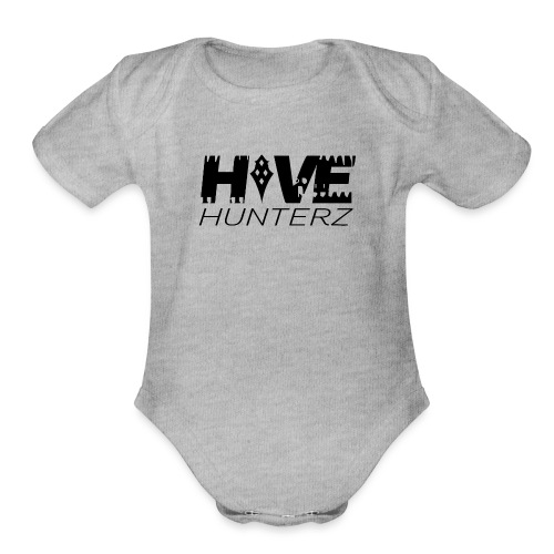 Hive Hunterz Black Logo - Organic Short Sleeve Baby Bodysuit