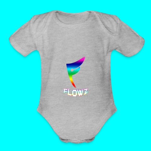 Multi-Colour Flowz Logo With Text - Organic Short Sleeve Baby Bodysuit