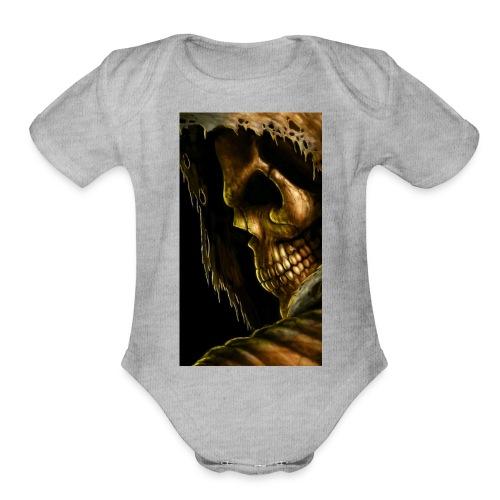 99798 skull 498 - Organic Short Sleeve Baby Bodysuit