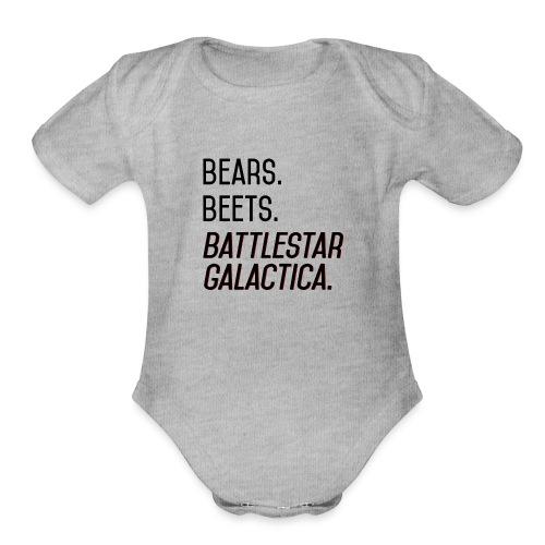Bears. Beets. Battlestar Galactica. (Black & Red) - Organic Short Sleeve Baby Bodysuit