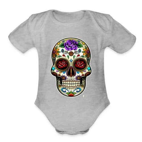 Sugar skull - Organic Short Sleeve Baby Bodysuit