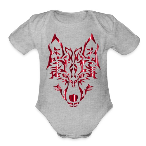 Crimson Symmetric Tribal Wolf No Background - Organic Short Sleeve Baby Bodysuit