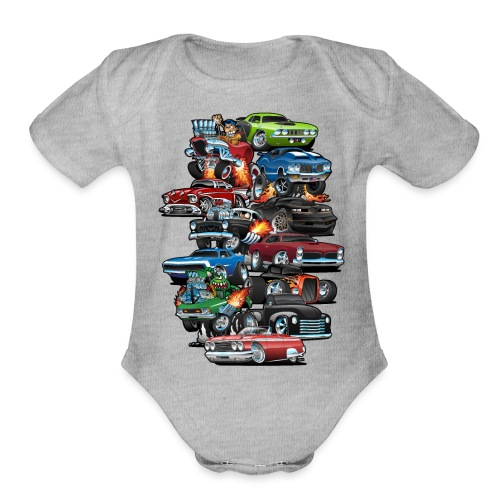 Car Madness! Muscle Cars and Hot Rods Cartoon - Organic Short Sleeve Baby Bodysuit