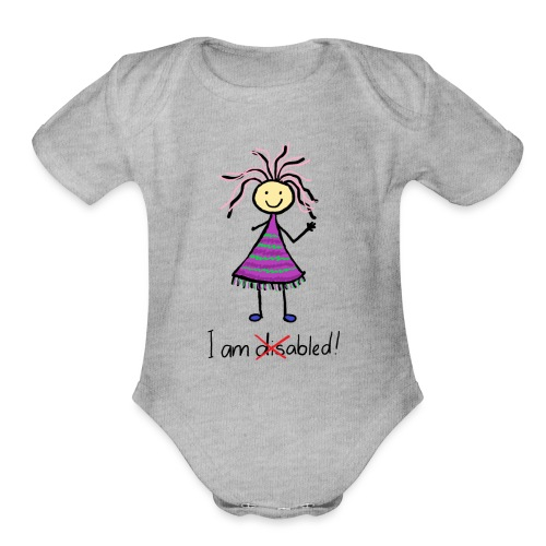 Kid with disability - I am able! Limb difference 2 - Organic Short Sleeve Baby Bodysuit