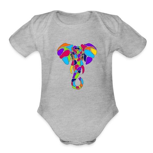 Art Deco elephant - Organic Short Sleeve Baby Bodysuit