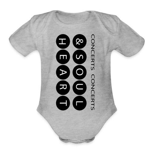 Heart & Soul concerts text design 2021 flip - Organic Short Sleeve Baby Bodysuit
