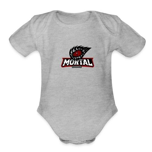 Mortal Esports Full Logo Design (Black) - Organic Short Sleeve Baby Bodysuit