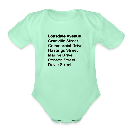 Street Names Black Text - Organic Short Sleeve Baby Bodysuit