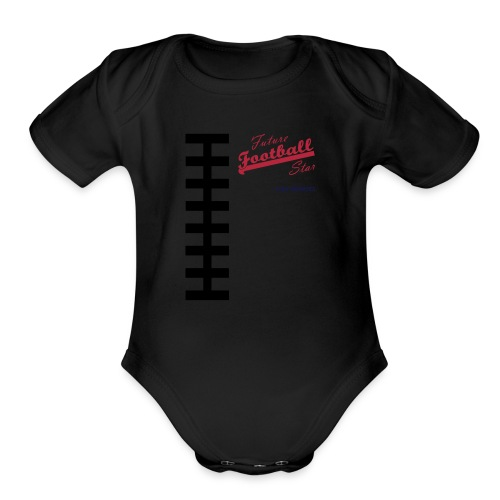 Football Laces for Baby 1 - Organic Short Sleeve Baby Bodysuit