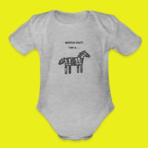 Wild Horse - Black / White - Watch Out - Organic Short Sleeve Baby Bodysuit