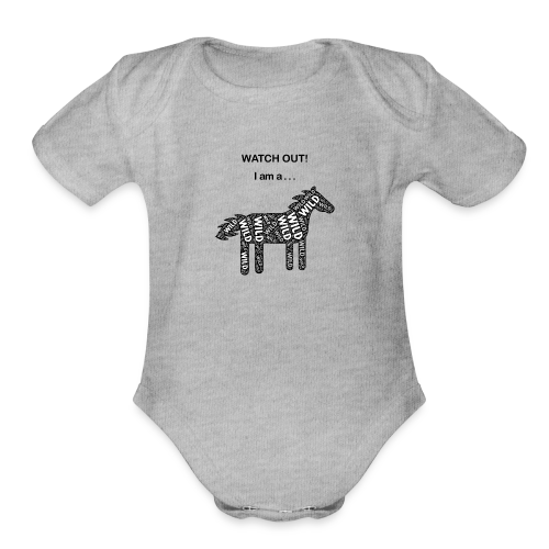 Wild Horse - Black / White - Watch Out - Organic Short Sleeve Baby Bodysuit