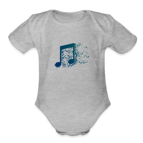 Music note spill - Organic Short Sleeve Baby Bodysuit
