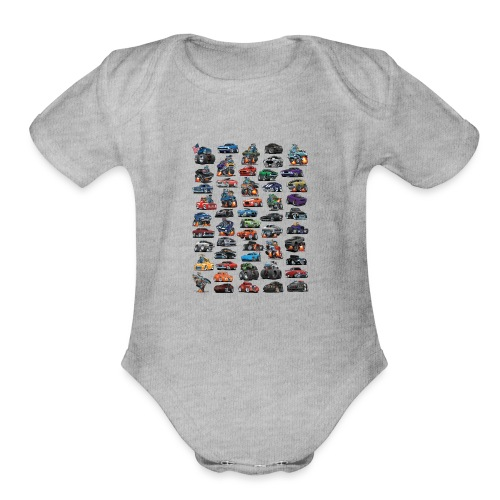 Muscle Cars, Hot Rods, Trucks and a Chopper - Organic Short Sleeve Baby Bodysuit