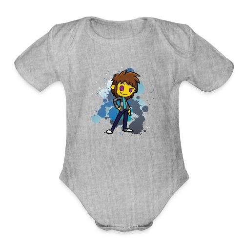 Darkar Paint Blue - Organic Short Sleeve Baby Bodysuit