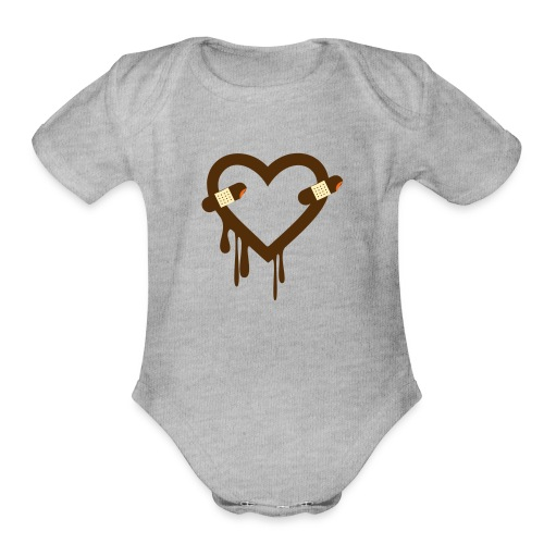 Heart Bleed Patch - Organic Short Sleeve Baby Bodysuit