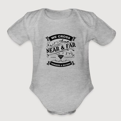 near far vintage logo black - Organic Short Sleeve Baby Bodysuit