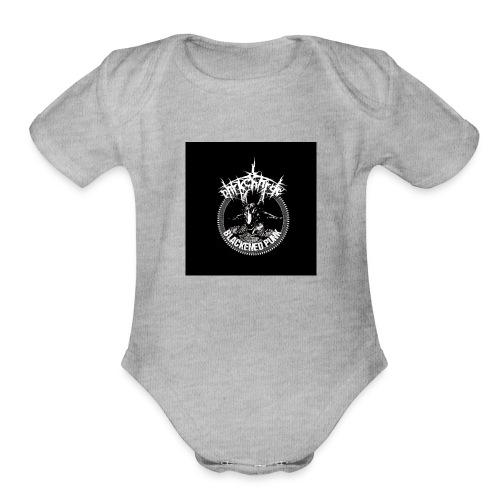 darkcharge button - Organic Short Sleeve Baby Bodysuit