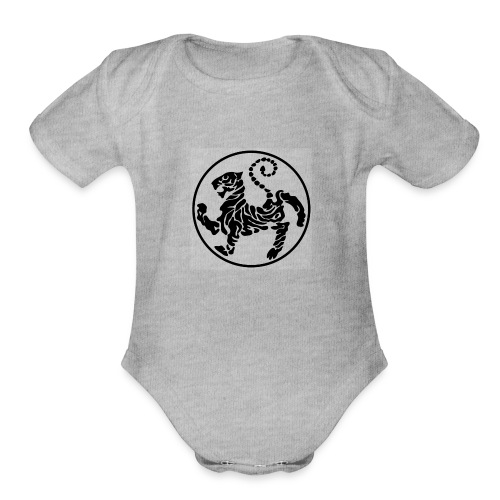 Shotokan-Tiger_black - Organic Short Sleeve Baby Bodysuit
