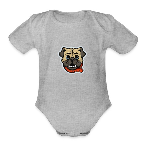 Pug_Mascot_WhiteBG - Organic Short Sleeve Baby Bodysuit
