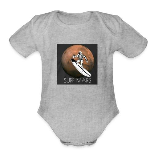 space surfer - Organic Short Sleeve Baby Bodysuit