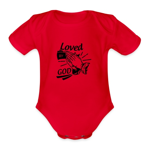 Loved By God (Black Letters) - Organic Short Sleeve Baby Bodysuit