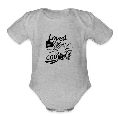 Loved By God (Black Letters) - Organic Short Sleeve Baby Bodysuit