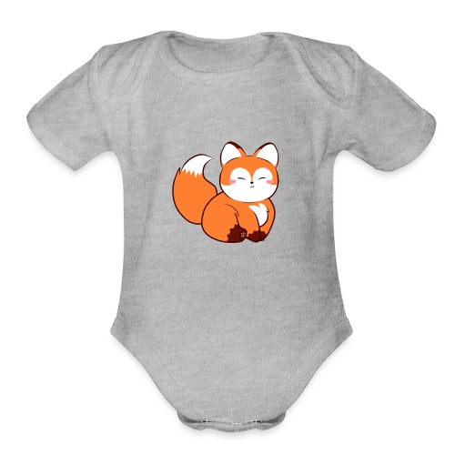 fat little baby fox - Organic Short Sleeve Baby Bodysuit