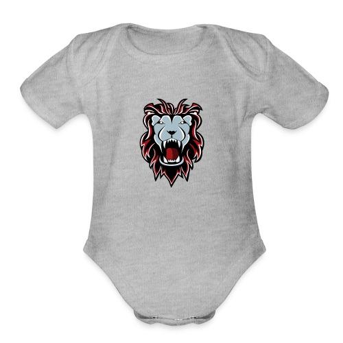 Lion Logo - Organic Short Sleeve Baby Bodysuit