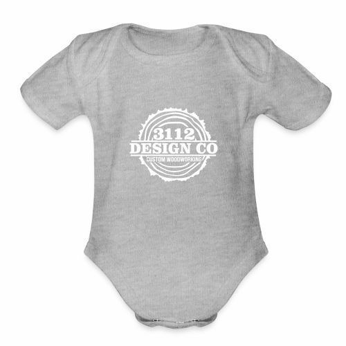 3112 Design Co - White Logo - Organic Short Sleeve Baby Bodysuit