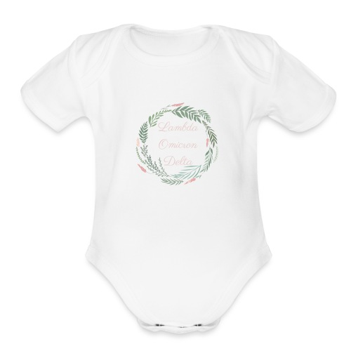 LOD Flower Wreath 1 - Organic Short Sleeve Baby Bodysuit