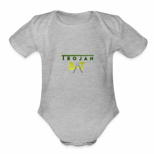 New Trojan Bat Logo - Organic Short Sleeve Baby Bodysuit