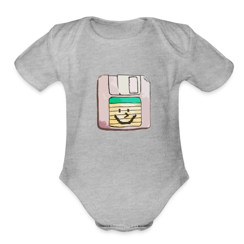 smiley floppy disk - Organic Short Sleeve Baby Bodysuit