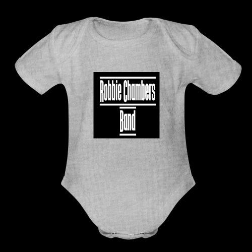 rcb logo white shirt - Organic Short Sleeve Baby Bodysuit